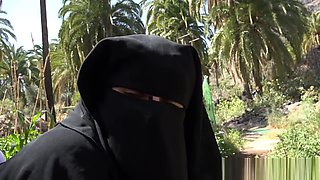 Nice outdoor sex with young muslim wife she is full covered in black burka