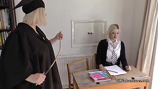 Mistress Granny Lacey canes her pupil before having fun with her