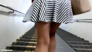Flashing public amateur upskirt outdoor