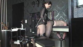 Mistress strapon sexy bodysuit Boots