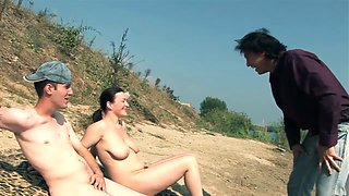 Slut stepMom and son on the Nude Beach fuck for money
