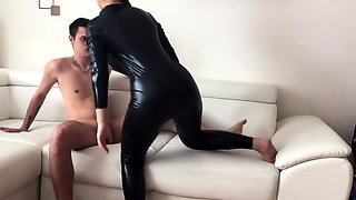 Busty milf in latex gets her holes stuffed with hard meat