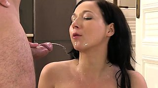 Striking doll gets her wet cunt entire of warm piss and squi