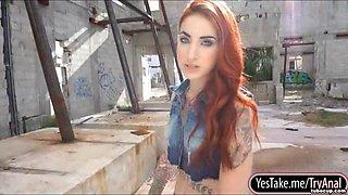 Tattooed redhead bombshell Sheena Rose gets anal screwed outdoors