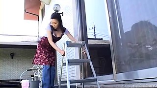 Insatiable Japanese housewife fucks a dildo and a hard cock