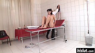 Naughty doctor pleases a brunette patient