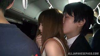 asian hottie is fucke inside a people filled bus