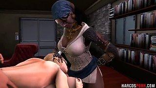 Sexy round ass babes hammered by futanari dicks