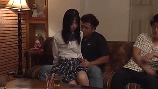 Horny Japanese Teen In Schoolgirl Uniform Secretly Fucked And Creampied By Uncle In Front Of Her Family Full Uncut