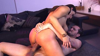 Big-boobied brunette is wildly banged by her lover