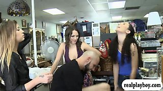 Three brunette women orgy with nasty man for some money