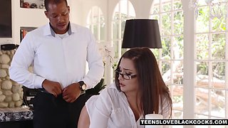 Classy secretary Gabriella cheats with the big black boss cock
