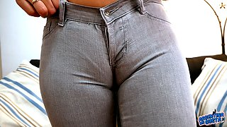 Perfect CAMELTOE and ROUND ASS Slut In Super Tight Jeans