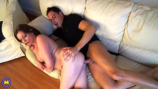 Busty mom cheating with young dude