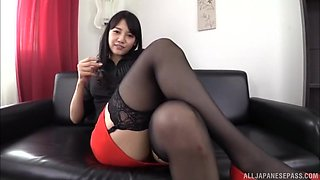 Stunning Asian babe in stockings wants to play with a dildo