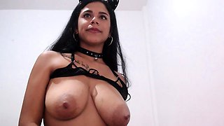 Scared looking slave is pulled on her nice boobs and nipples