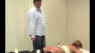 Maid Caned Until Bottom Is Red